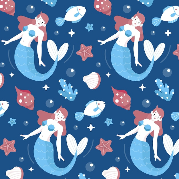 Cute pattern with mermaid swimming Free Vector