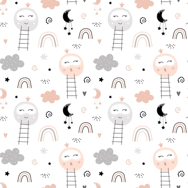 Cute pattern with moon and rainbow Premium Vector