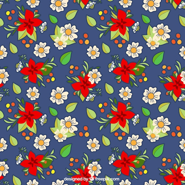 Cute pattern with white and red flowers