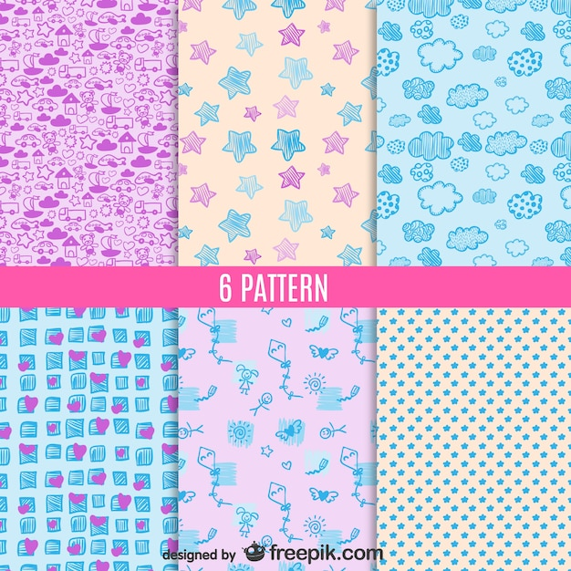 Cute Patterns Set Vector Free Download Best Cute Patterns