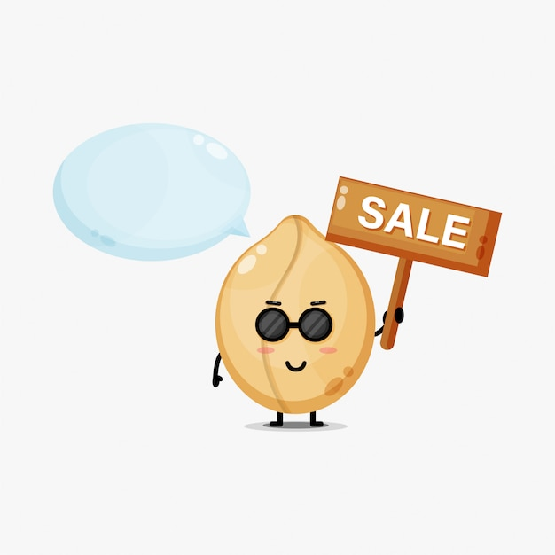 Симпатичный арахисовый талисман со знаком продаж Premium векторы