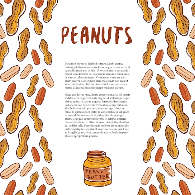 Cute peanuts template. sketched nuts hand drawn vector background. for your packaging design, healthy food magazine page. Premium Vector