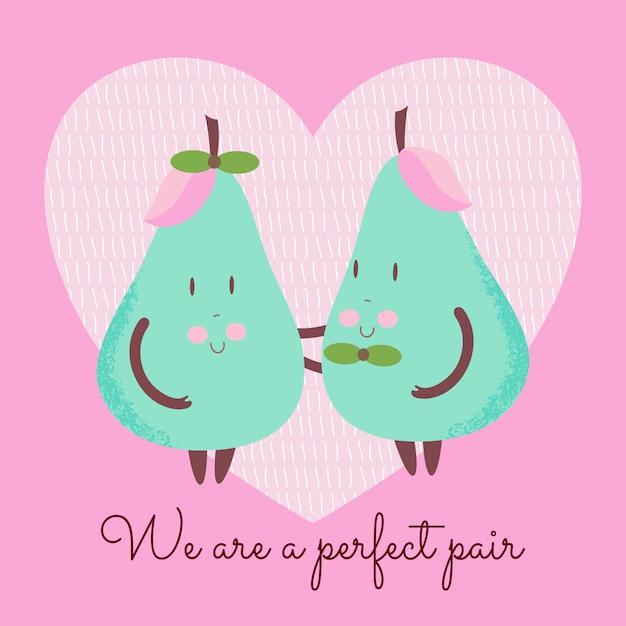 Cute pear couple Premium Vector