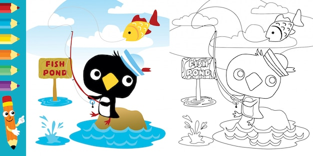 Милый пингвин мультфильм рыбалка Premium векторы
