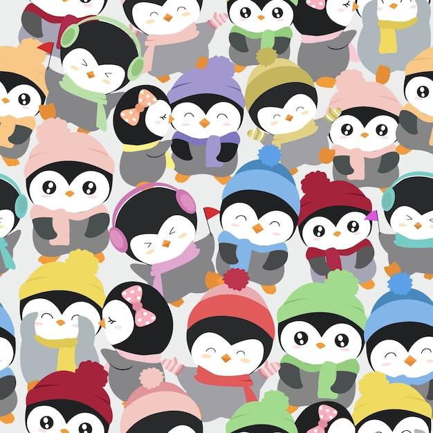Cute penguin cartoon pattern Premium Vector