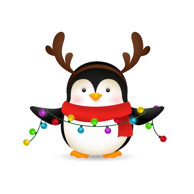 Cute penguin celebrating christmas Free Vector