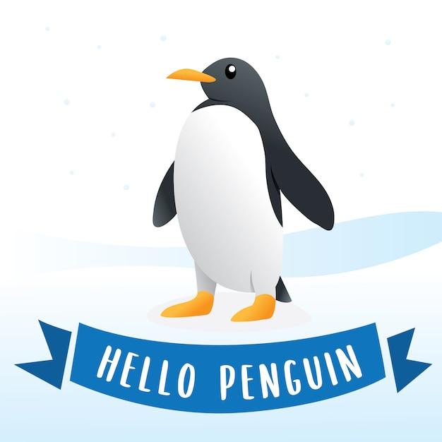 プレミアムベクター かわいいペンギンキャラクター漫画イラスト 雪の上のペンギン かわいいペンギン 南極鳥 動物イラストレーション