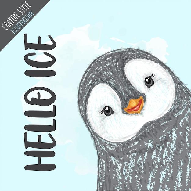 Cute penguin crayon style illustration Premium Vector