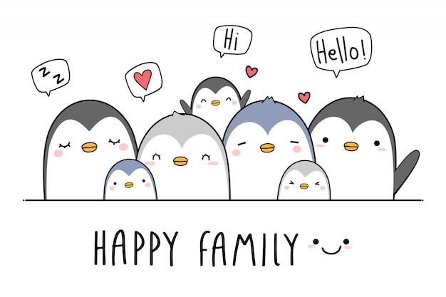 Cute penguin family greeting cartoon Premium Vector
