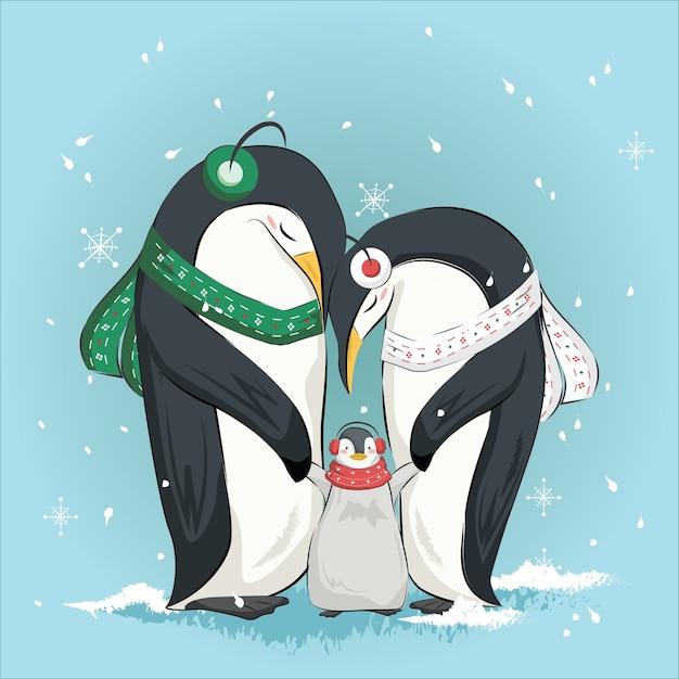Cute penguin family Premium Vector