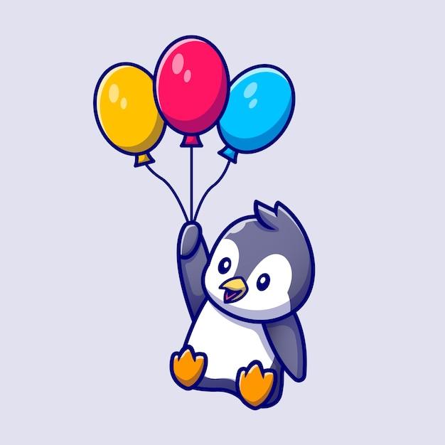 Милый пингвин летит с воздушными шарами мультфильм векторные иллюстрации. концепция любви животных изолированных вектор. плоский мультяшном стиле Бесплатные векторы