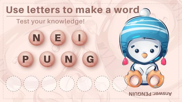 Милый пингвин - игра для детей, составляй слово из букв Бесплатные векторы