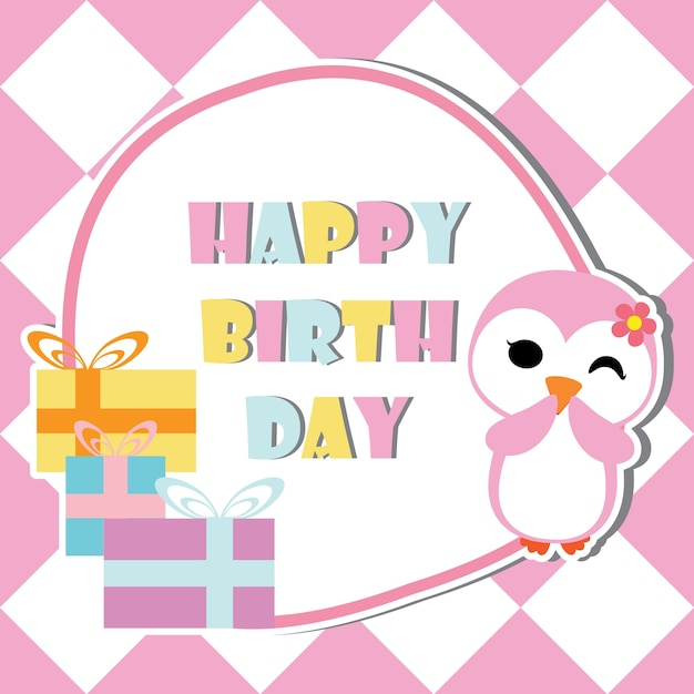 Cute Penguin Girl Is Winking On Birthday Gifts Frame Vector Cartoon