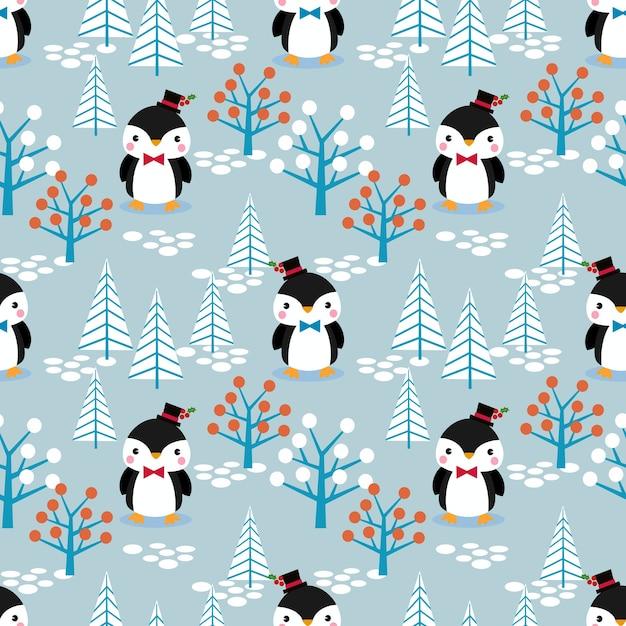 크리스마스 테마 완벽 한 패턴에 귀여운 펭귄 프리미엄 벡터
