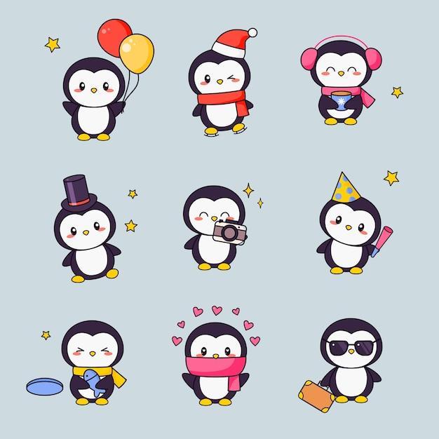 かわいいペンギンカワイイクリップアートステッカーセット。アニメの顔と白い黒い鳥落書きのための様々な絵文字デザイン。子供のための別のコミック動物ギフトアイコンキット。 Premiumベクター