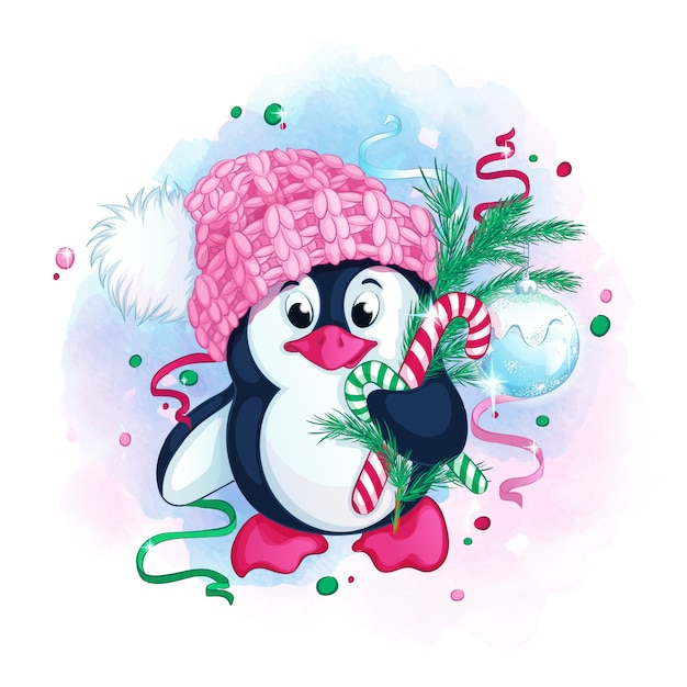 Cute penguin in a knitted pink hat with a pompom holds Premium Vector