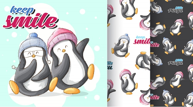 Cute penguin pattern illustration Premium Vector