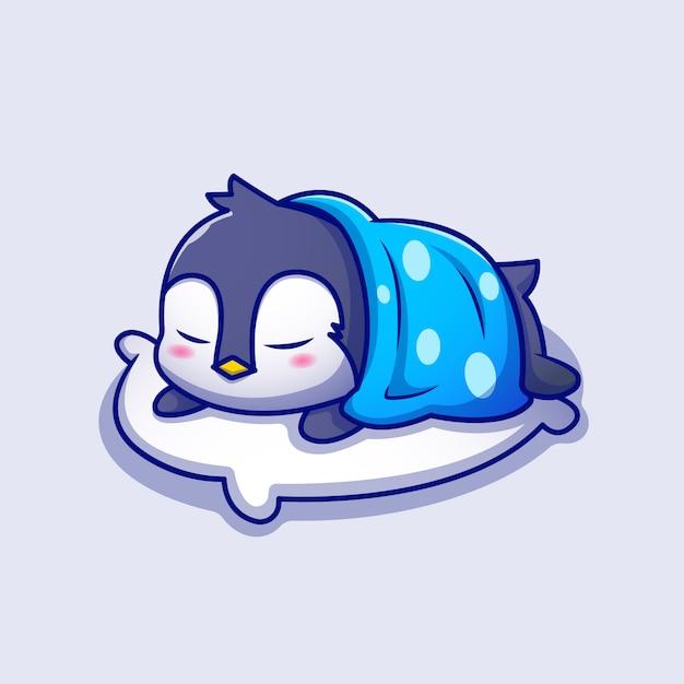 毛布漫画アイコンイラストと枕で寝ているかわいいペンギン。動物の睡眠アイコンコンセプトプレミアム。漫画のスタイル Premiumベクター