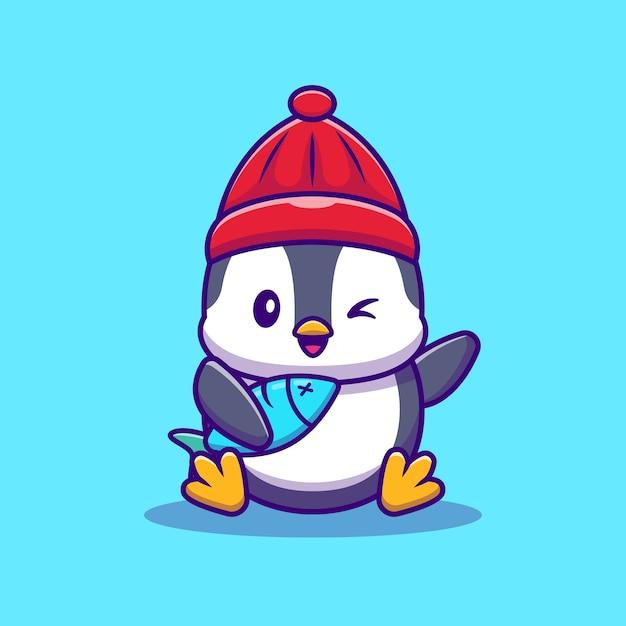 魚漫画ベクトルイラストとかわいいペンギン。動物の野生動物の概念分離ベクトル。フラット漫画スタイル 無料ベクター