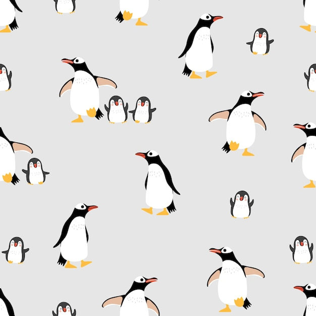 Cute penguins family seamless pattern and background. Premium Vector