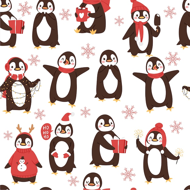Cute penguins seamless pattern with cartoon christmas and winter holidays arctic birds Premium Vector