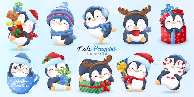 Ảnh eps những chú chim cánh cụt dễ thương thiết lập cho ngày Giáng sinh với minh họa màu nước Vector cao cấp
