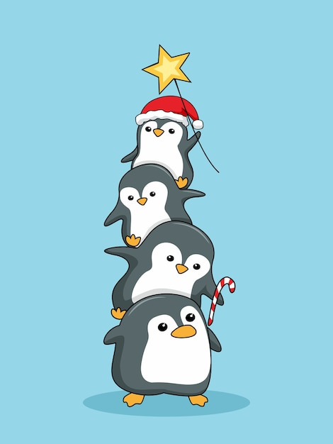 Cute penguins stack merry christmas Premium Vector