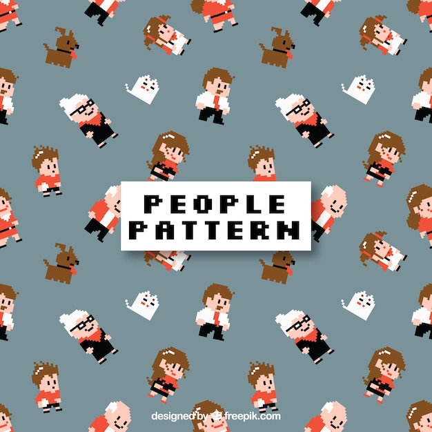 Cute people pattern with flat design Free Vector