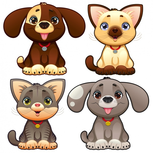 Cute pets collection Free Vector
