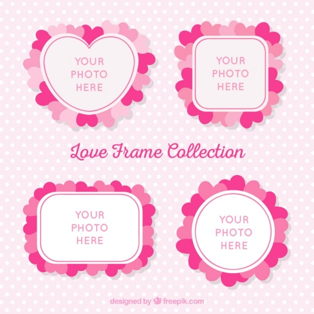 Cute photo frames with hearts Free Vector