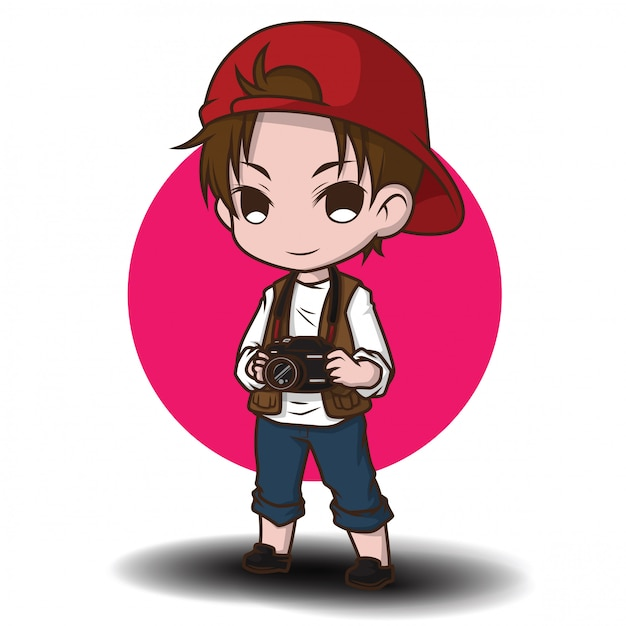 Cute photographer cartoon character. Premium Vector