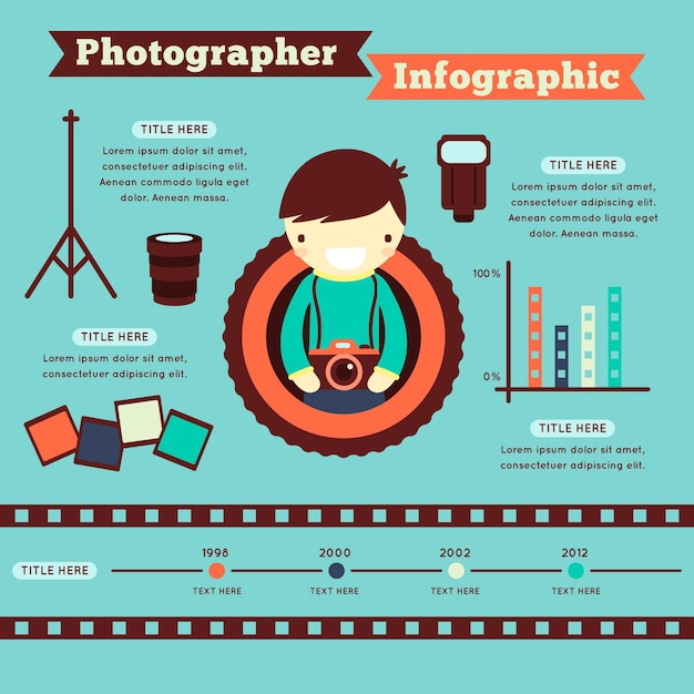 Cute photographer infographic Free Vector