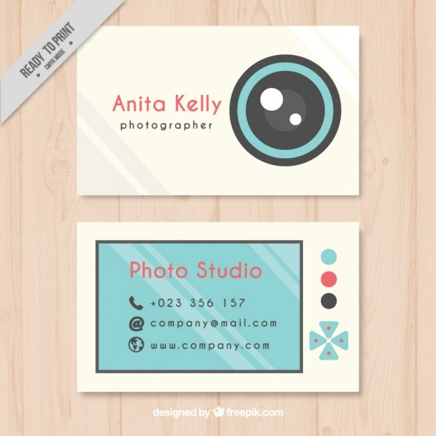 Cute Photography Business Card Flat Style Vector Free Download
