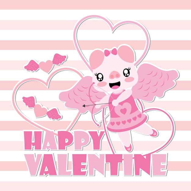 Cute Pig As Cupid With Arrow Vector Cartoon Illustration For Happy Valentine Card Premium