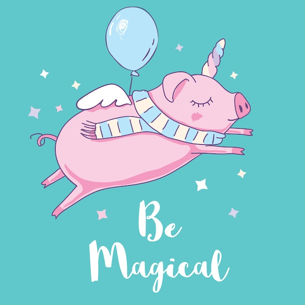Cute pig as pegasus and unicorn Premium Vector