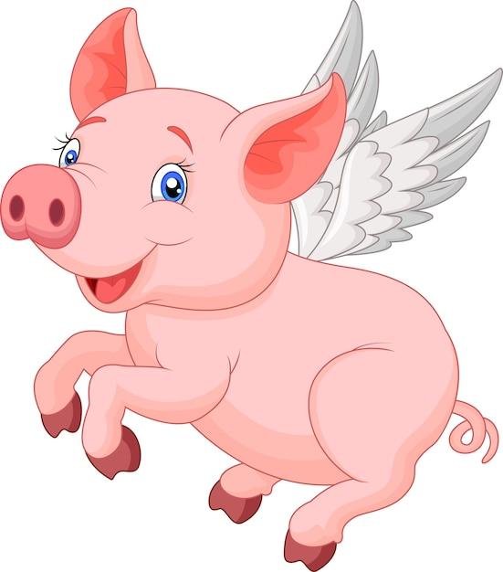 Cute pig cartoon flying Premium Vector