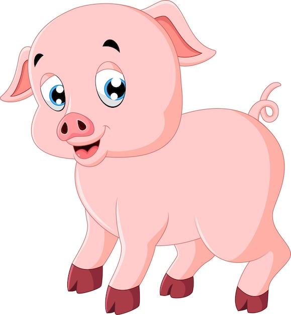 Cute pig cartoon Premium Vector