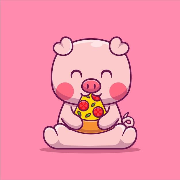Maiale sveglio che mangia l'illustrazione del fumetto della pizza. concetto di cibo animale isolato piatto del fumetto Vettore gratuito