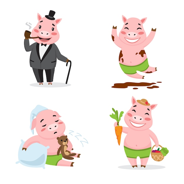 Cute pig enjoying different actions. cartoon character set. smoking pipe, rolling in mud, sleeping, Free Vector