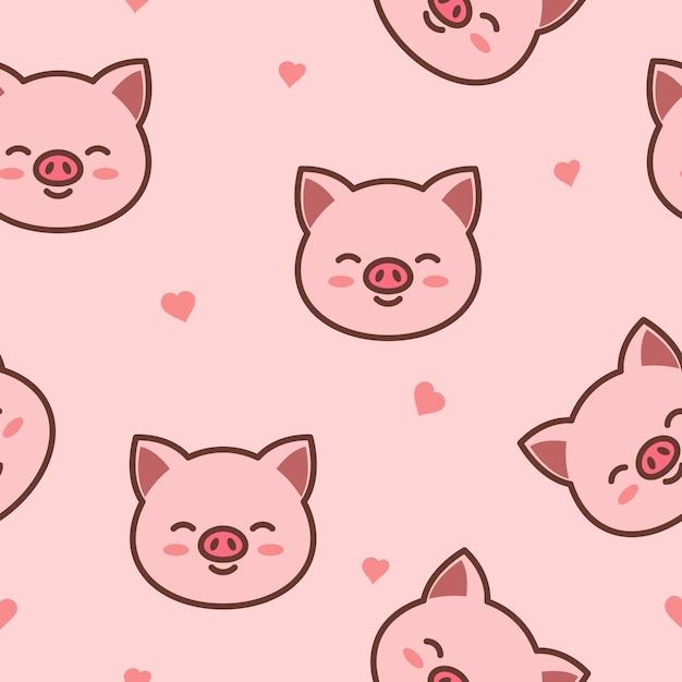 Cute pig face cartoon seamless pattern Premium Vector