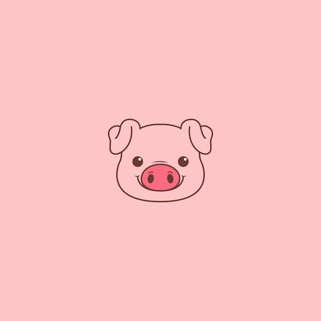 Premium Vector Cute Pig Face Cartoon