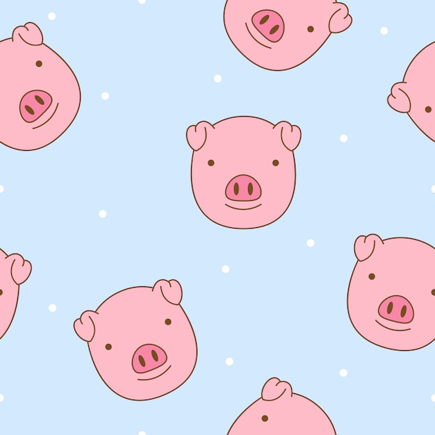 Cute pig face seamless pattern vector Premium Vector