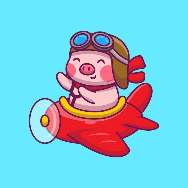 Милый поросенок летит с самолета иллюстрации шаржа. концепция значок животных и транспорта Premium векторы