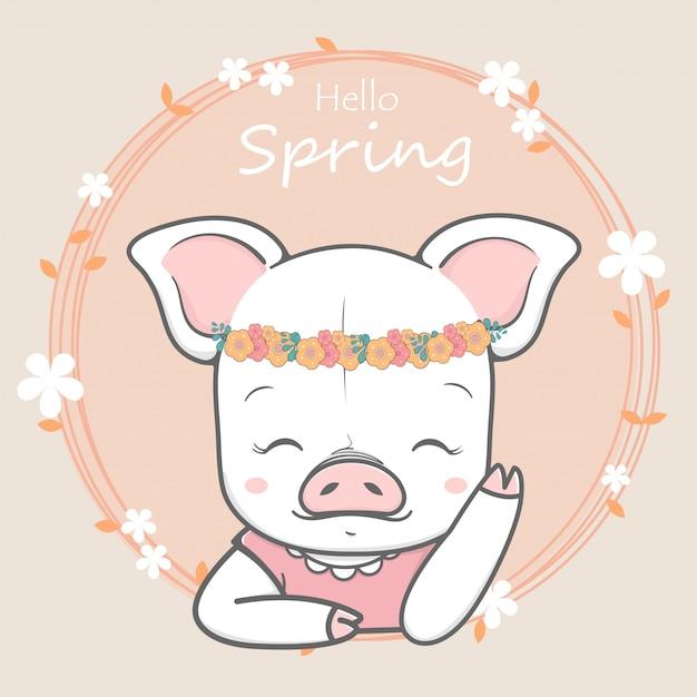 Cute pig girl hello spring cartoon hand drawn Premium Vector