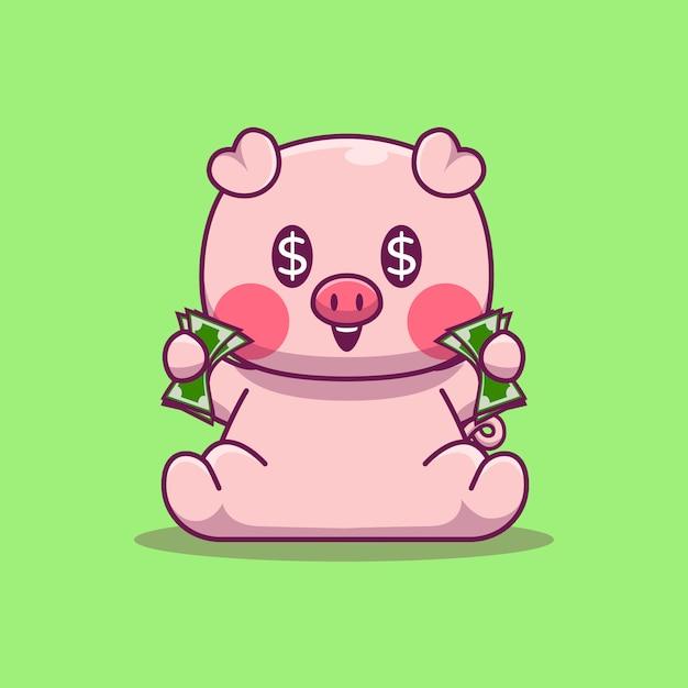 Cute pig holding money Premium Vector