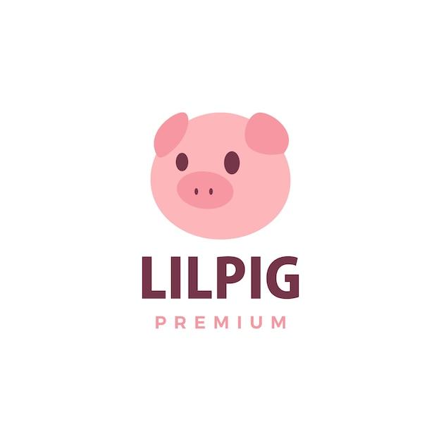 Симпатичная свинья логотип значок иллюстрации Premium векторы