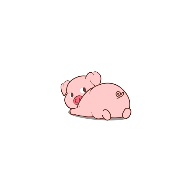 Cute pig lying down and looking back Premium Vector