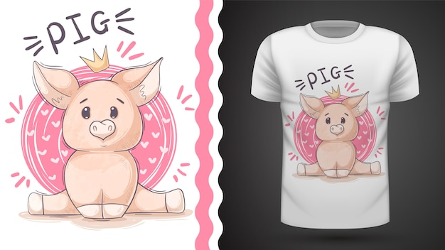 Cute pig, piggy - идея для печати футболки Premium векторы