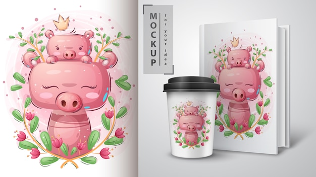 Cute pig - poster and merchandising Free Vector