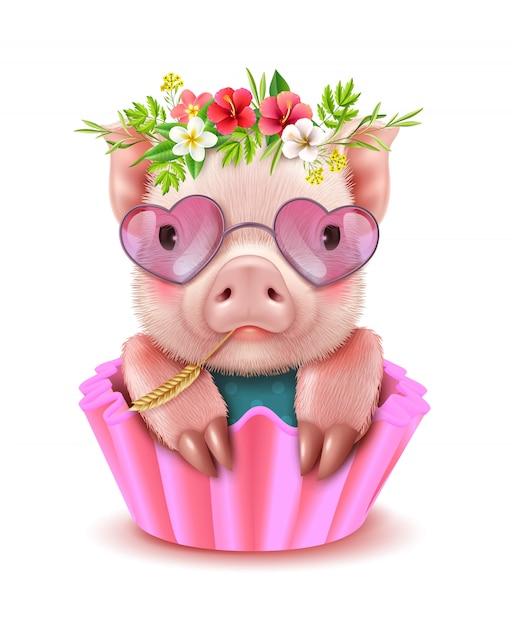 Ritratto realistico di maiale carino Vettore gratuito